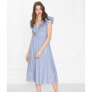 & Other Stories Blue Frills and Ties Dress